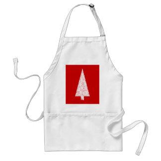 Árbol de navidad blanco En rojo Moderno Delantal