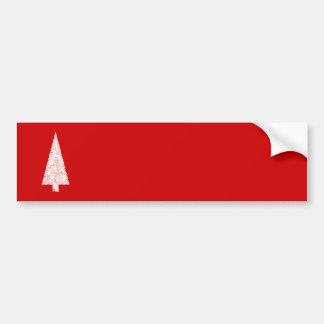 Árbol de navidad blanco. En rojo. Moderno Pegatina Para Auto
