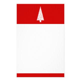Árbol de navidad blanco. En rojo. Moderno Personalized Stationery