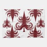 Árbol de navidad blanco rojo del día de fiesta fes toallas de cocina