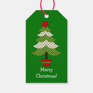 Árbol de navidad blanco verde del lunar etiquetas para regalos