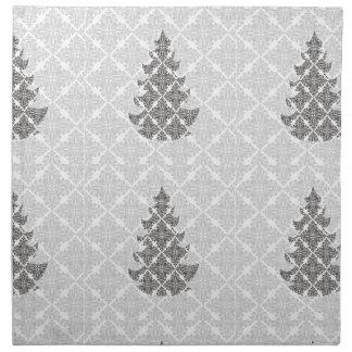 Árbol de navidad blanco y negro de lujo del damasc servilletas de papel