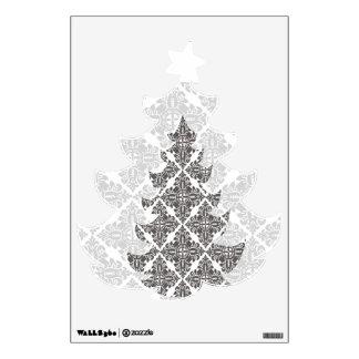 Árbol de navidad blanco y negro de lujo del damasc vinilo adhesivo