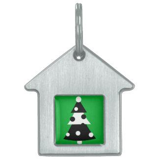 Árbol de navidad blanco y negro moderno retro placas mascota