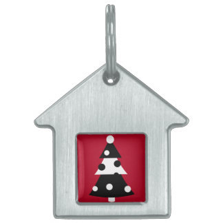 Árbol de navidad blanco y negro moderno retro placa mascota