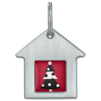 Árbol de navidad blanco y negro moderno retro placa de mascota