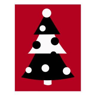 Árbol de navidad blanco y negro moderno retro tarjeta postal