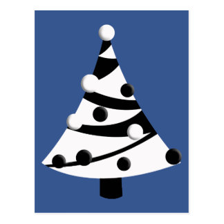 Árbol de navidad blanco y negro retro postal