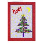 Árbol de navidad caprichoso de la flor de lis de tarjeta de felicitación