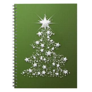 Árbol de navidad chispeante estrellado libreta espiral