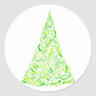 Árbol de navidad christmas tree pegatina redonda