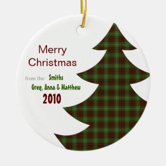 Árbol de navidad clásico de la tela escocesa (pers ornamentos para reyes magos