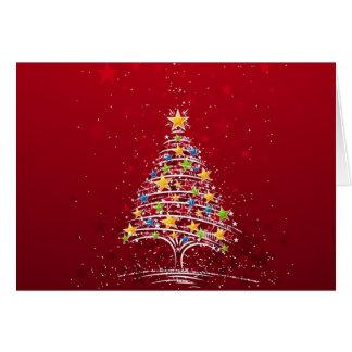 Árbol de navidad coloreado multi tarjeta de felicitación