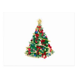 Árbol de navidad colorido: Arte del vector: Postal
