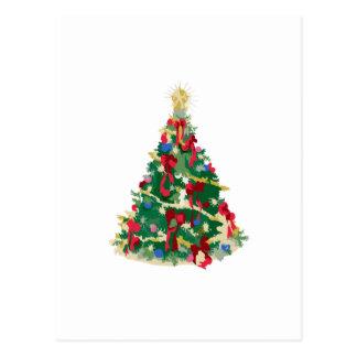 Árbol de navidad colorido: Arte del vector: Tarjeta Postal