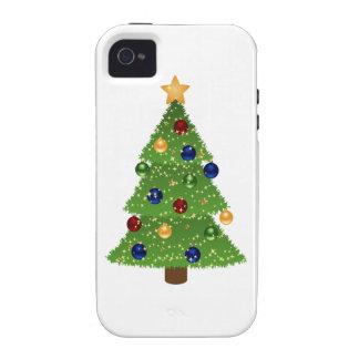 Árbol de navidad colorido con los ornamentos y la vibe iPhone 4 fundas