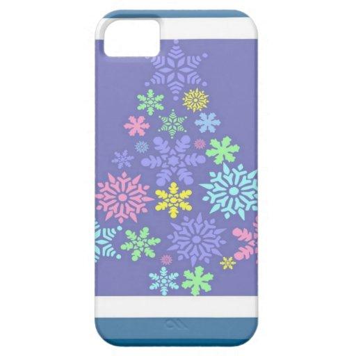Árbol de navidad colorido del copo de nieve iPhone 5 carcasas