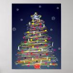 Árbol de navidad colorido festivo (personalizar él posters