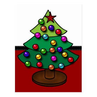 Árbol de navidad colorido retro postal