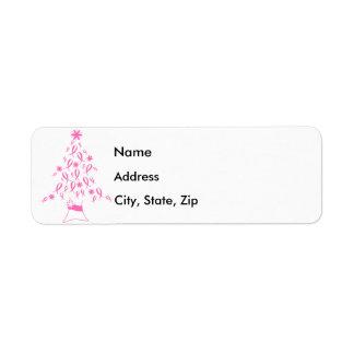 Árbol de navidad con el cáncer de pecho de las cin etiqueta de remite