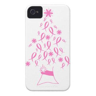 Árbol de navidad con el cáncer de pecho de las cin Case-Mate iPhone 4 protectores