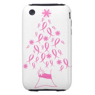 Árbol de navidad con el cáncer de pecho de las cin tough iPhone 3 cárcasa