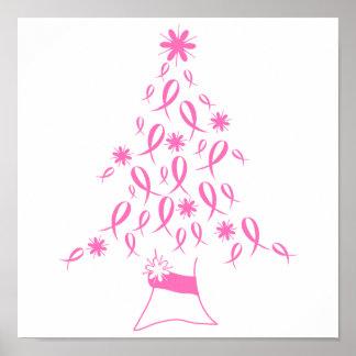 Árbol de navidad con el cáncer de pecho de las cin póster