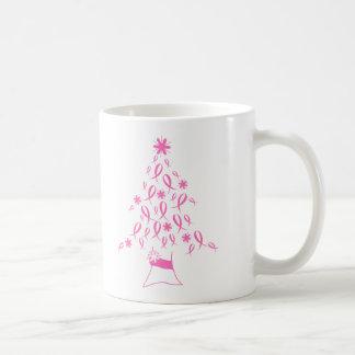 Árbol de navidad con el cáncer de pecho de las cin tazas de café