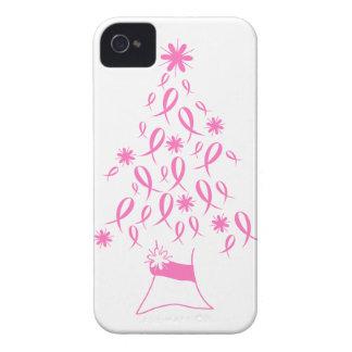 Árbol de navidad con el cáncer de pecho de las iPhone 4 cárcasa