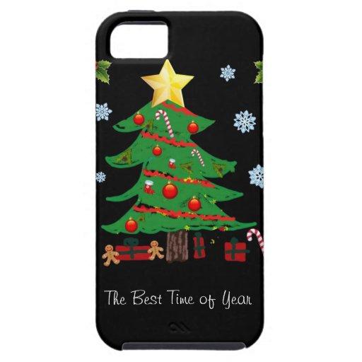 Árbol de navidad con el caso del iPhone 5 del día iPhone 5 Case-Mate Cárcasa