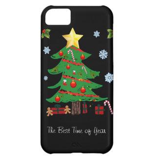 Árbol de navidad con el caso del iPhone 5 del día  Funda Para iPhone 5C