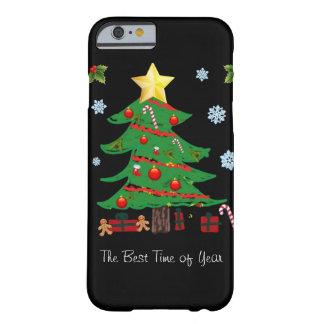 Árbol de navidad con el caso del iPhone 6 del día Funda De iPhone 6 Barely There