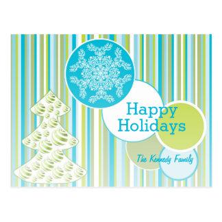 Árbol de navidad con el copo de nieve postal