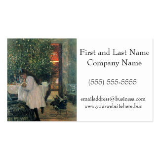 Árbol de navidad con el dibujo de la niña y del tarjetas de visita
