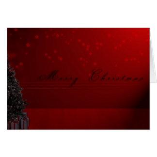 Árbol de navidad con el fondo rojo tarjeta de felicitación