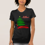 Árbol de navidad con la cinta roja camiseta