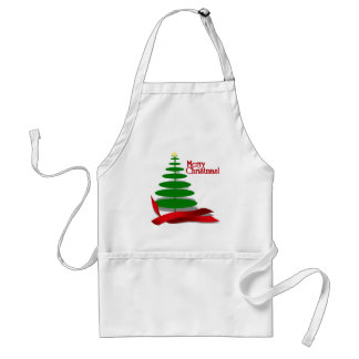 Árbol de navidad con la cinta roja delantales