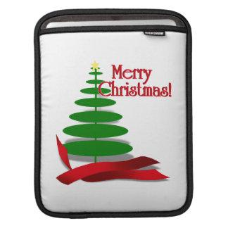 Árbol de navidad con la cinta roja fundas para iPads