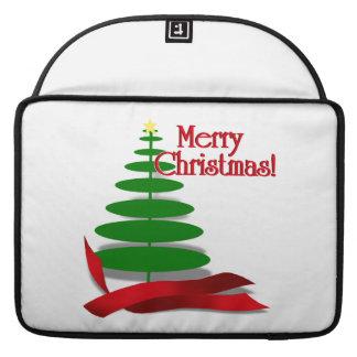 Árbol de navidad con la cinta roja fundas para macbooks