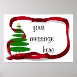 Árbol de navidad con la cinta roja poster