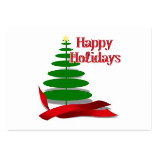 Árbol de navidad con la cinta roja tarjetas personales
