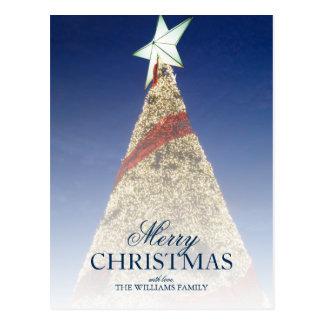 Árbol de navidad con la estrella blanca del birght postales
