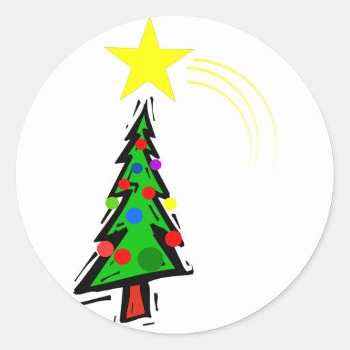 Árbol de Navidad con la estrella Pegatina Redonda