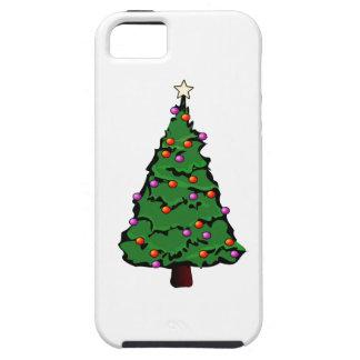 Árbol de navidad con la estrella y los ornamentos iPhone 5 Case-Mate coberturas