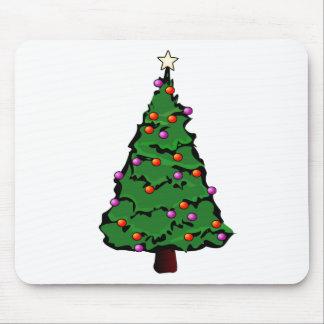 Árbol de navidad con la estrella y los ornamentos  alfombrilla de raton
