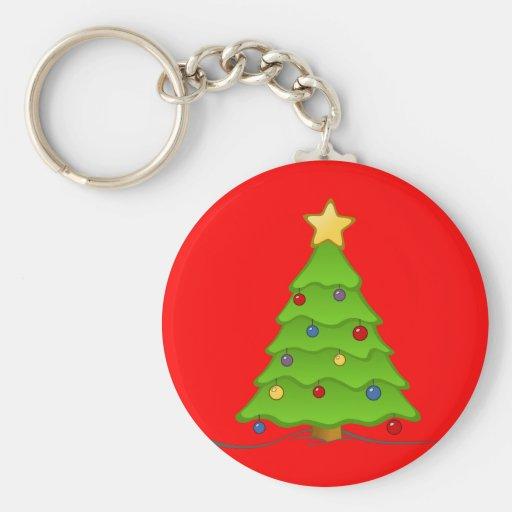 Árbol de navidad con las chucherías y la estrella llaveros