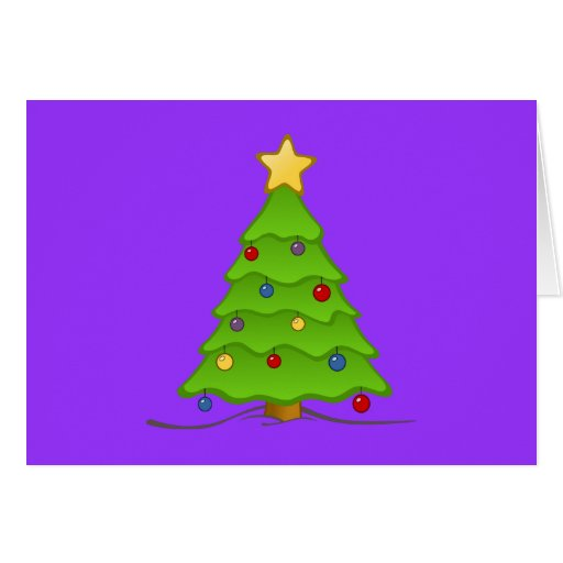 Árbol de navidad con las chucherías y la estrella tarjeta de felicitación