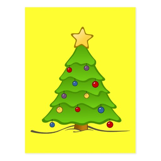Árbol de navidad con las chucherías y la estrella postal