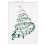 Árbol de navidad con las notas de la música felicitación