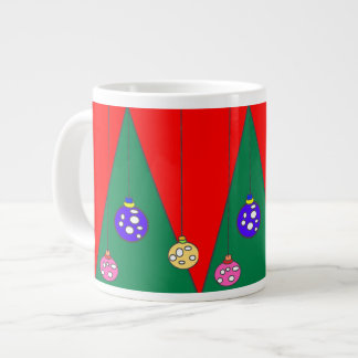 Árbol de navidad con los bulbos en XMAS15 rojo Taza De Café Grande